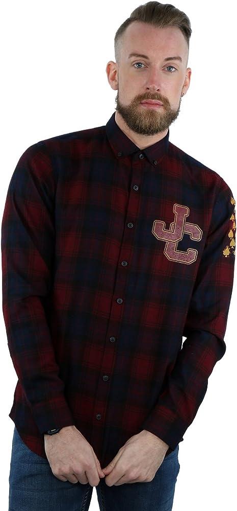 Johnny Cash JC Spades - Camisa de Cuadros para Hombre, Talla pequeña, Color Burdeos: Amazon.es: Ropa y accesorios