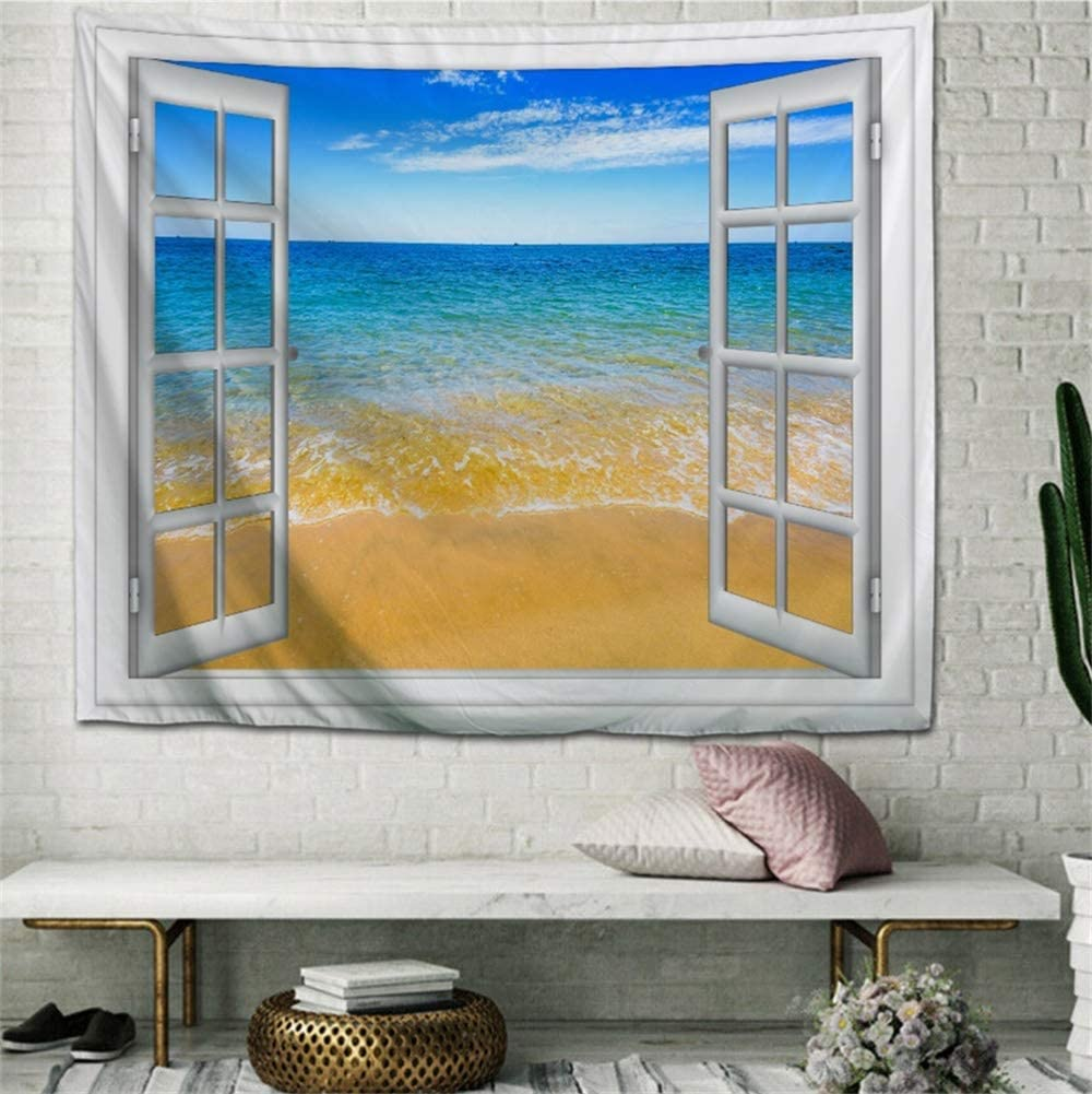 IcosaMro Beach Tapestry Wall Hanging, Open Window Ocean Sunshine Nature Landscape Scenery Wall Decorations Bohemian Home Decor for Bedroom, Dorm, College, Living Room, 51x60, Blue