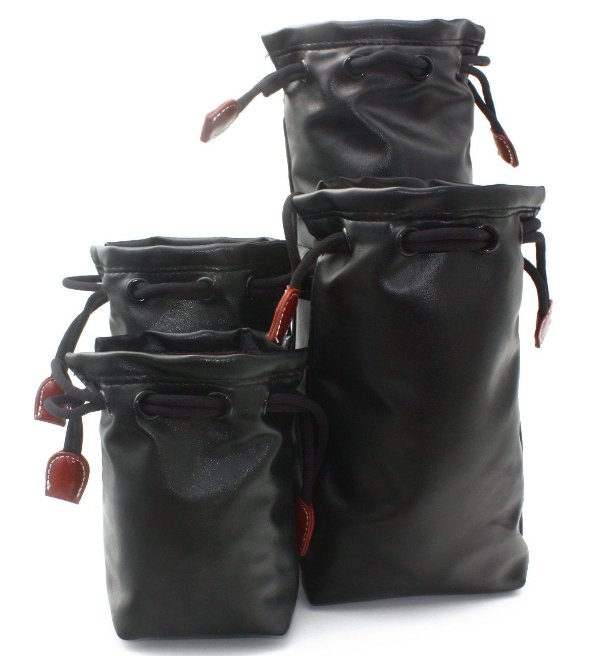 CEARI Medium Leather Lens Pouch Bag for Canon Nikon Pentax Sony Fujifilm Sigma DSLR Camera Lens