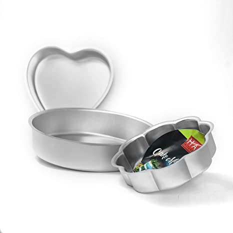 Hazel Cake Food Grade Aluminium Mould Set of 3 Shape - Round, Flower & Heart