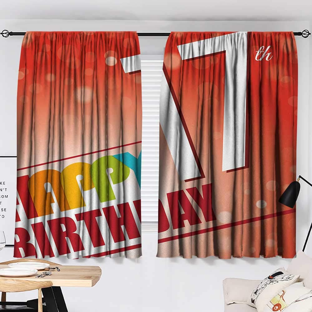 Jinguizi 17th Birthday Drapes/Draperies Sun Beams Abstract Style Backdrop with Colorful Birthday Theme Image Insulated Darkening Curtains Vermilion and Red W55 x L39 by Jinguizi (Image #2)