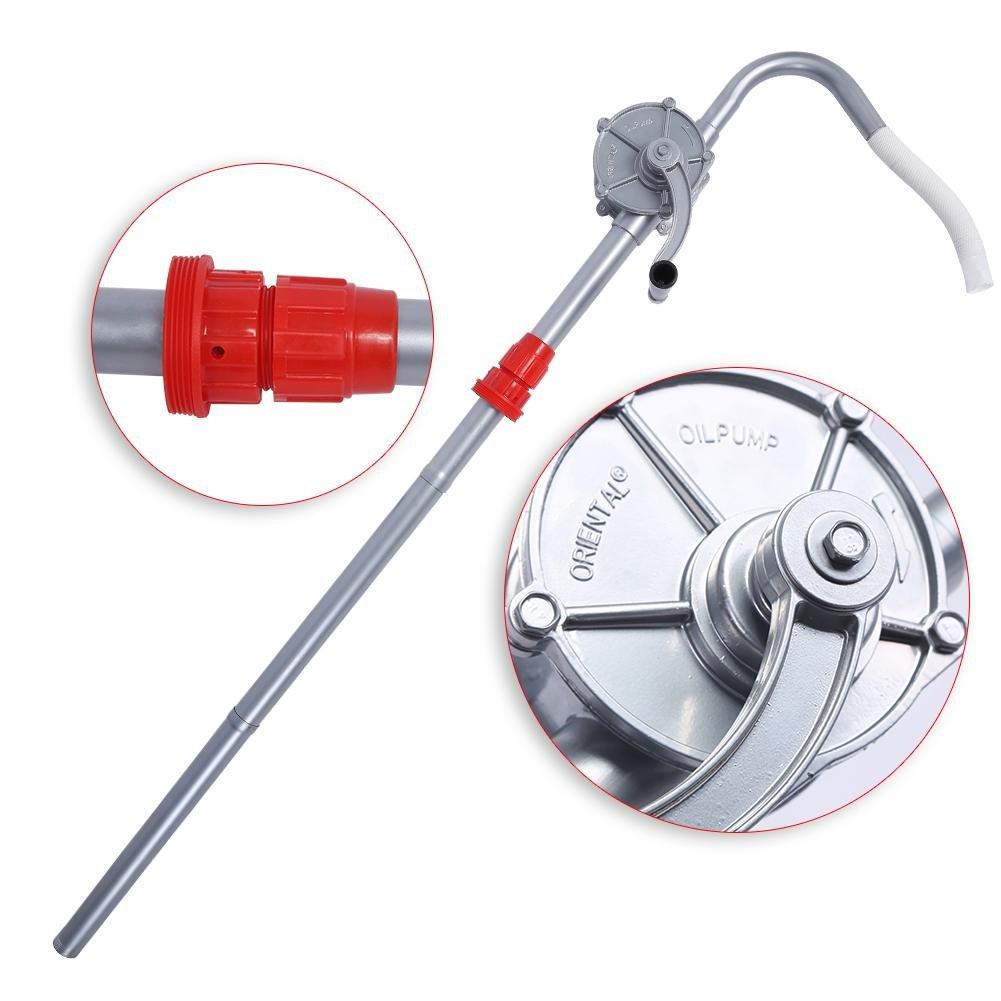 Zerone Hand Crank Oil Barrel Pump for Diesel, Aluminium Rotary Oil Fuel Siphon Garage Hand Drum Barrel Pump Tool