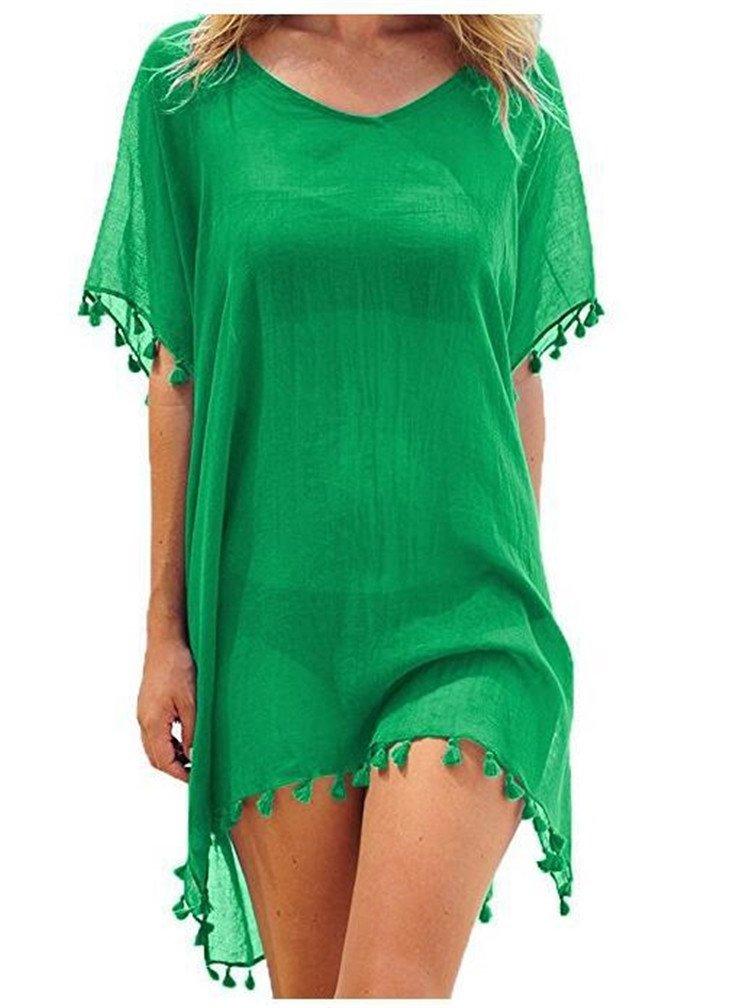 LeaLac Women's Summer Cotton Petite Fashion Vest Beach Bikini Swimsuit Swimwear Crochet Dress Gift for Women 6696liusu Green