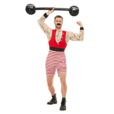 "Smiffys 50807M Deluxe Strongman Costume, Men, Red & White, M - Size 38""-40"": Toys & Games"