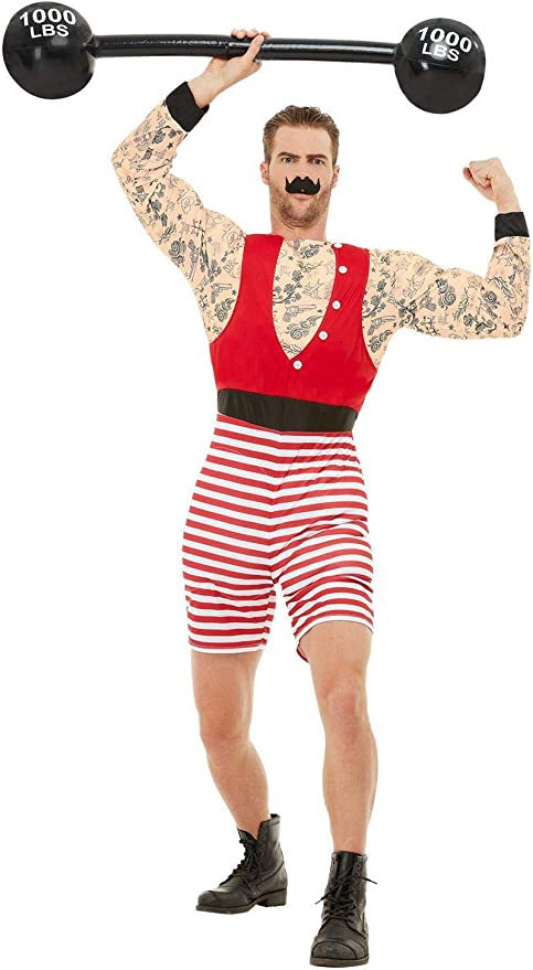 1920s Men's Costumes: Gatsby, Gangster, Peaky Blinders, Mobster, Mafia Mens Vintage Circus Carnival Strongman Deluxe Costume $54.30 AT vintagedancer.com
