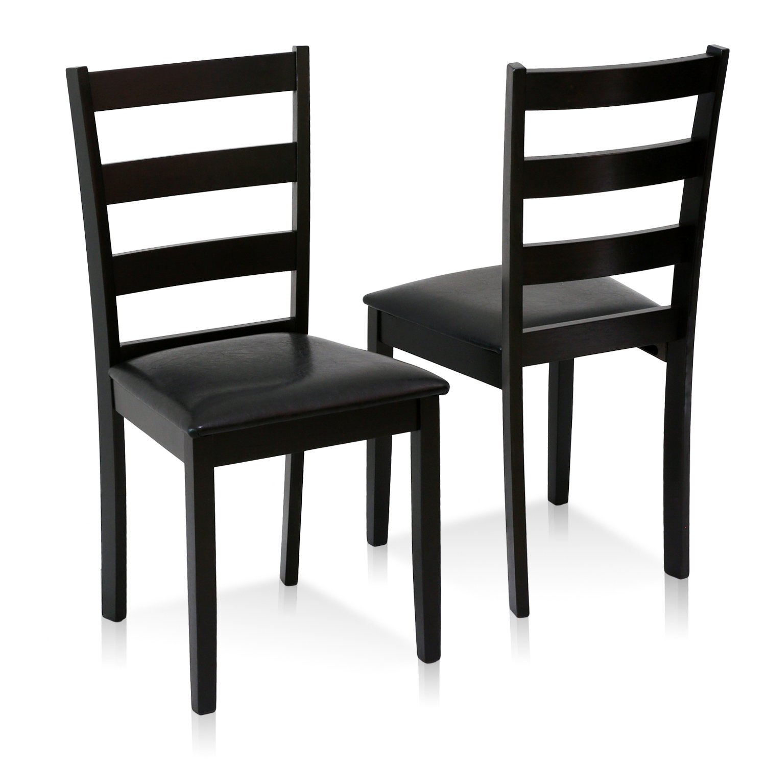 FURINNO Cos Simply Solid Wood Dining Chairs (Set of 2), Espresso
