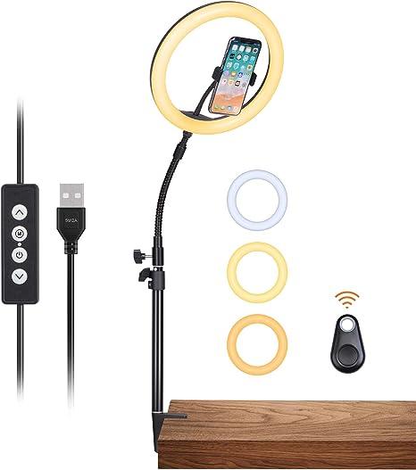 Inkeltech 10-Inch Selfie Ring Light with Desktop Stand & Phone Holder