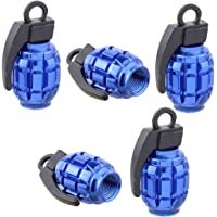 EKIND Tire Stem Valve Caps Wheel Aluminum Valve Covers Car Dustproof Tire Cap, Hand-Grenade Style, (Set of 5, Blue)