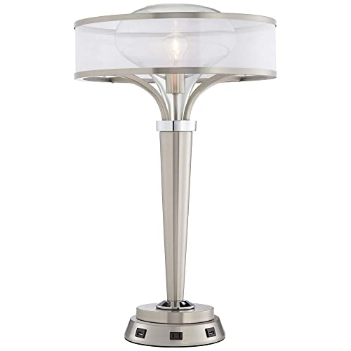 Layne Art Deco Table Lamp with USB and AC Power Outlet Workstation Charging Base Brushed Nickel Double Shade for Living Room Bedroom Bedside Nightstand Office Family – Possini Euro Design