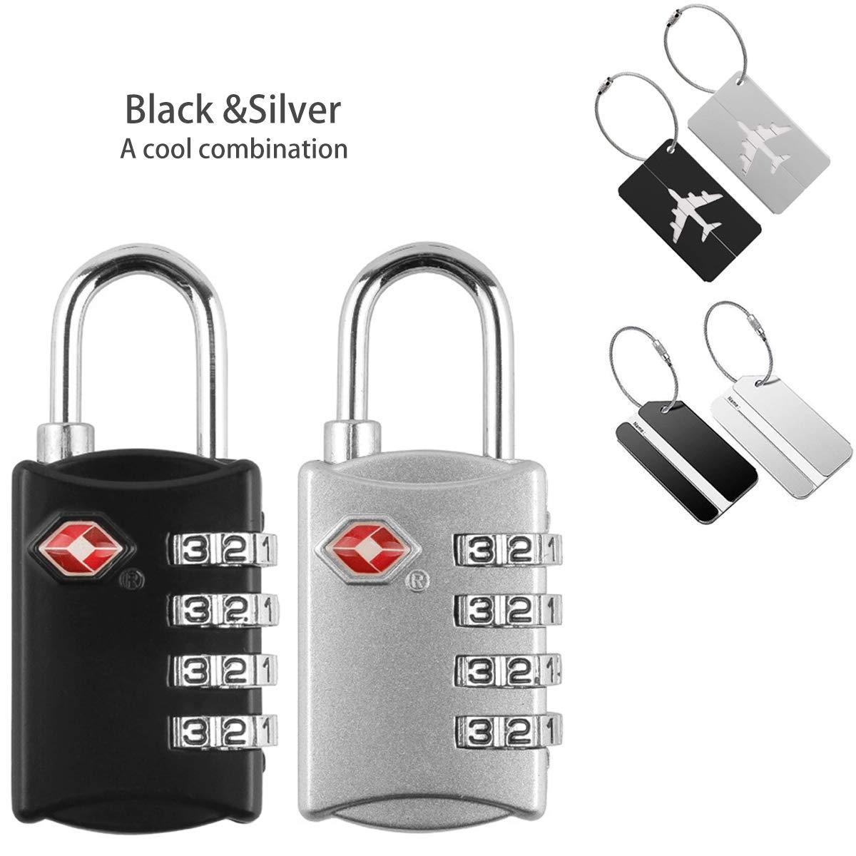 TSA luggage locks(2 packs) with Luggage Tags(4 packs), TSA Approved Travel Locks for Suitcases & Baggage