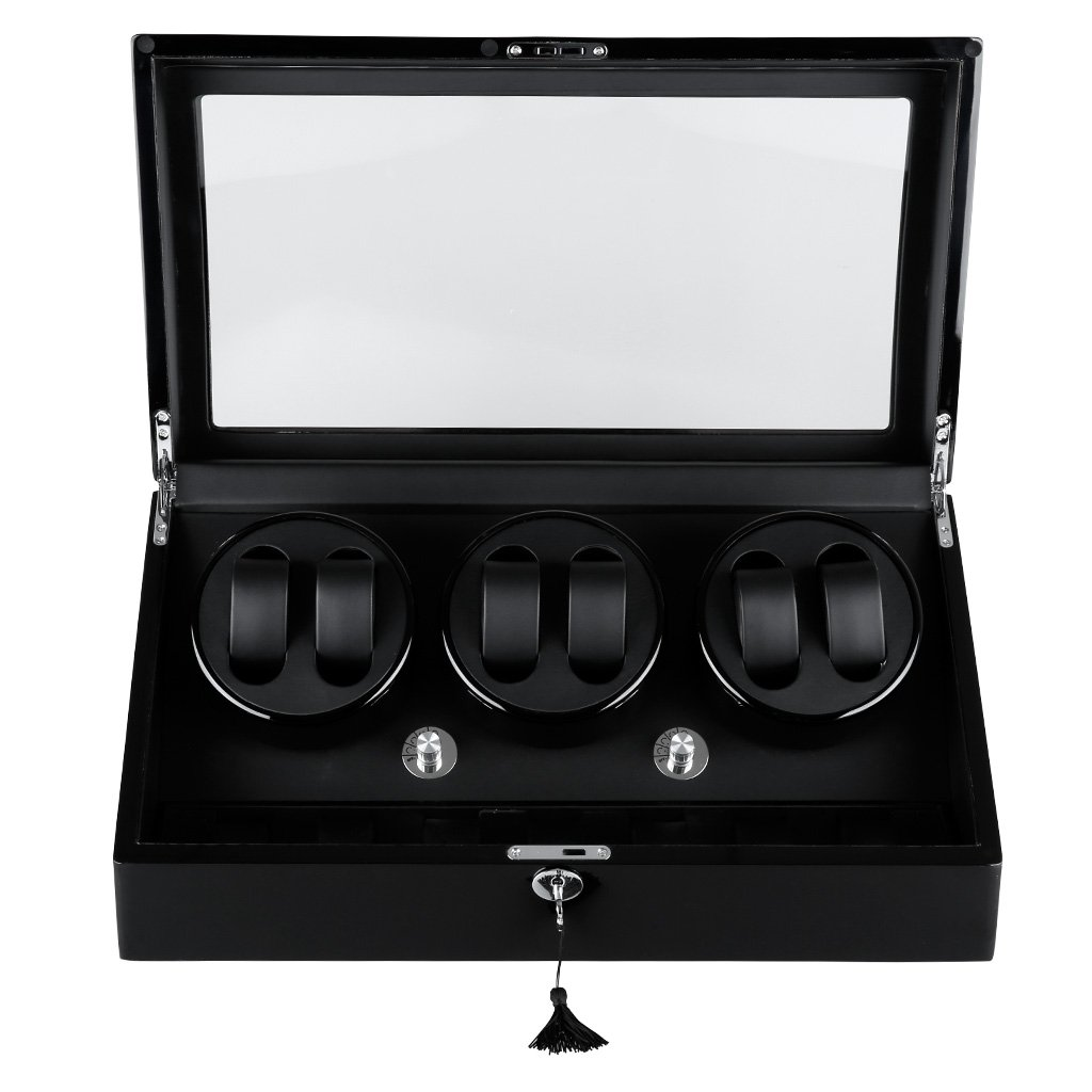 Excelvan Automatic Watch Winder Wooden Box Piano Paint with 4 Rotation Modes (Black Wooden Box 6+7)
