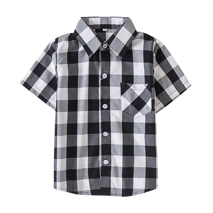 772c560b337 Boy  s Cotton Plaid Short Sleeve Button Down Sports Shirts Black White Tag  110-
