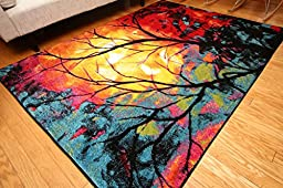 Radiance Art Collection Contemporary Modern Tree of Life Wool Area Rug, 5\'2 x 7\'3, Multicolor