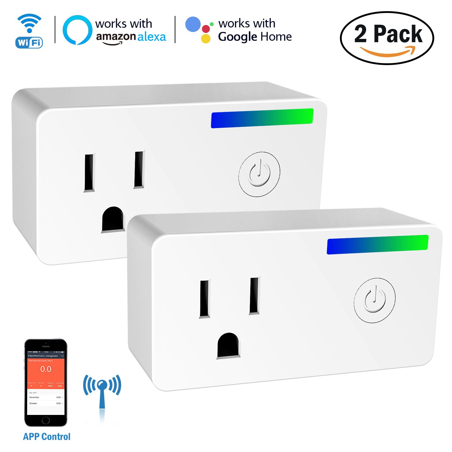 Wi-Fi Smart Plug, Esolom Mini Socket Outlet with Energy Monitoring, Compatible with Alexa and Google Home Assistant, Remote APP Control Power Switch Smart Timer Plug, No Hub Required (2 Pack)