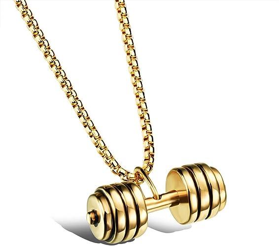 Halskette mit Anhänger Fitness Schmuck Hantel