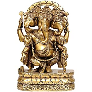 Three Headed Ganesha - Brass Statue 28