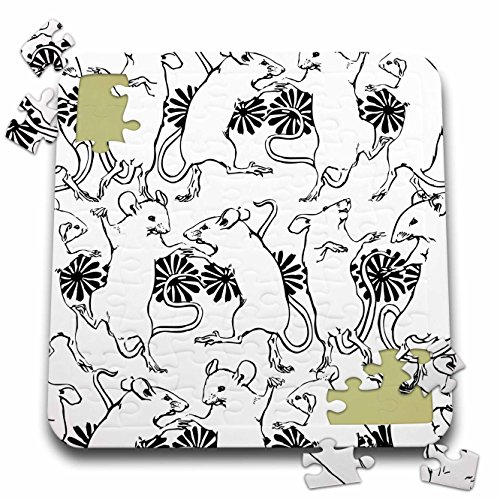 Russ Billington Patterns - Dancing Mouse Party Design in Black and White - 10x10 Inch Puzzle (pzl_262189_2) by 3dRose