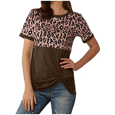 ODGear_Tops Blouses for Women Fashion 2020,ODGear Lady Leopard Short Sleeve Twist Knot Patchwork O-Neck Casual Tunic Tops: Clothing