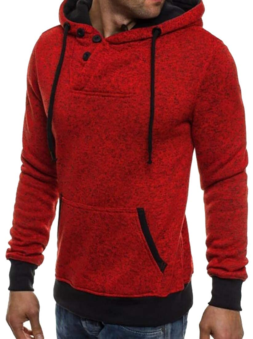 GAGA Mens Sweatershirt Warm Long-Sleeved Pullovers Hoodie Slim Button Tops
