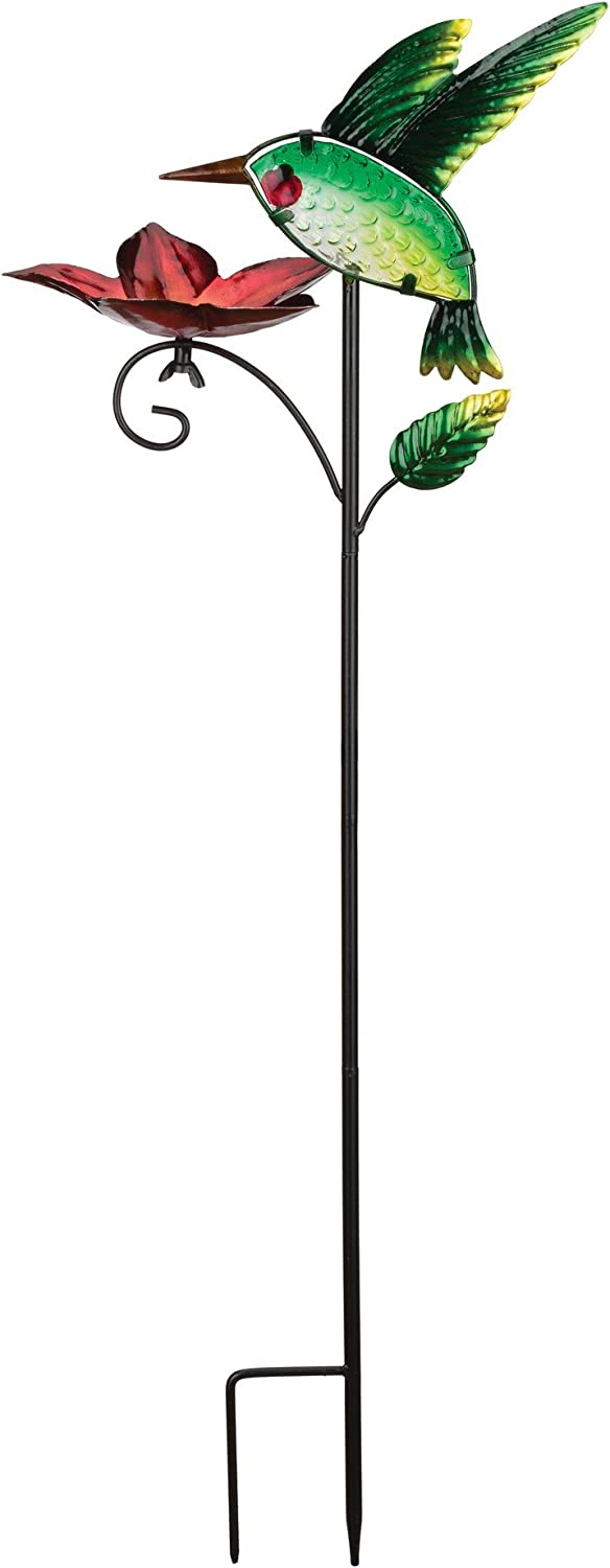 Regal Art & Gift 10.5 Inches X 4.25 Inches X 29.5 Inches Metal/Glass Bird Feeder Stake - Hummingbird