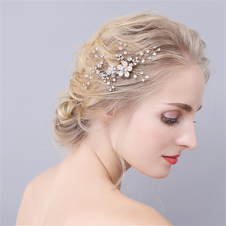 YAZILIND moda novia pelo accesorios tocado de boda brillante perlas ...