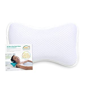 Coastacloud Bath Pillow with Suction Cups, Supports Neck and Shoulders Home Spa Pillows for Bathtub, Hot Tub, Tub Pillows Rest Portable, Relaxing & Comfortable - White