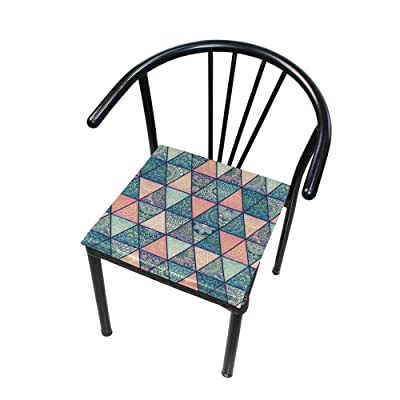 "HNTGHX Outdoor/Indoor Chair Cushion Ethnic Mandala Geometrical Square Memory Foam Seat Pads Cushion for Patio Dining, 16"" x 16"": Home & Kitchen"