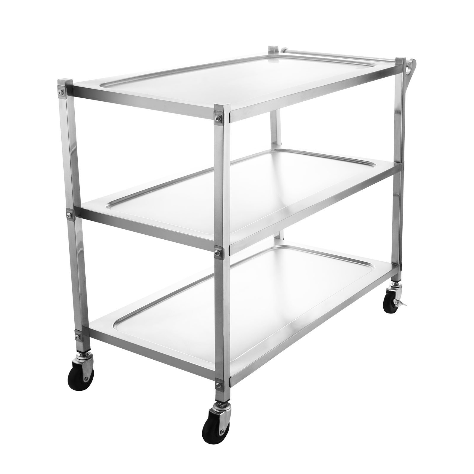 OrangeA Utility Cart 3 Shelf Utility Cart on Wheels 330Lbs Stainless Steel Cart Commercial Bus Cart Kitchen Food Catering Rolling Dolly (3 Shelf with Handle)