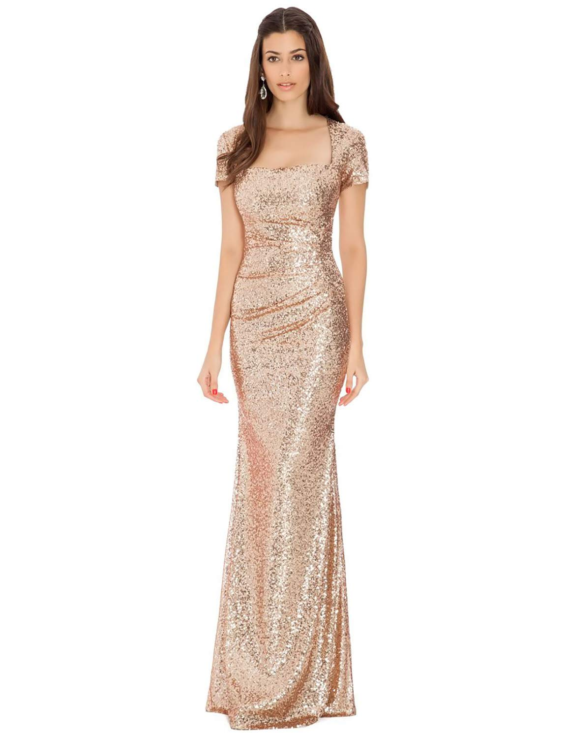 Square Neck Plus Size Evening Dresses for Women Sequined Prom Dress 2019  Full Length Formal Party Gown Empire Waist Cap Sleeves Wedding Dress Rose  ...
