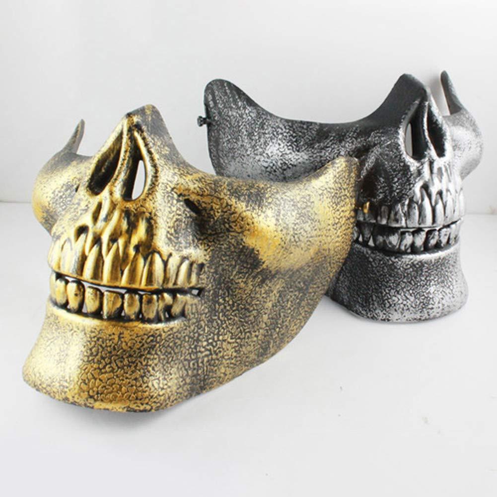 NAttnJf Horror Scary Skull Half Face Mask para Airsoft Masquerade Halloween Party Cosplay Plata