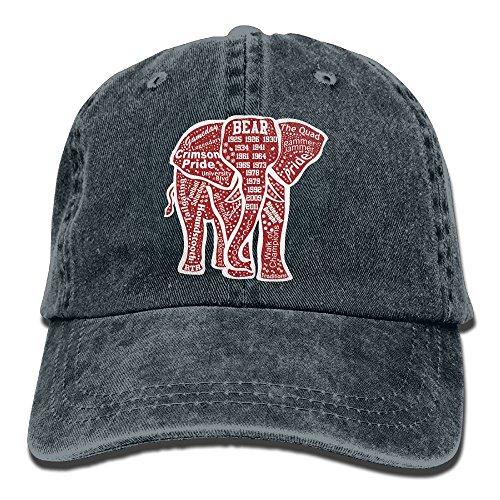 Alabama Sunshade (LUCKY CY Unique Alabama Red Elephant Cowboy Hat Vintage Chic Denim Baseball Caps Trucker Hats)