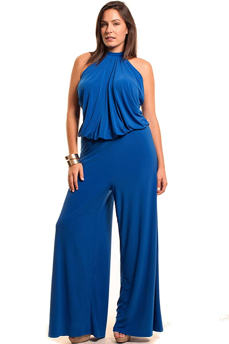 Nyteez Women's Plus Size High Neck Wide Leg Jumpsuit Blue) SY-B756