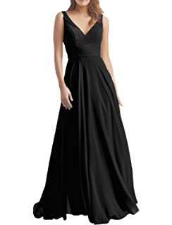 3e82e0ed9b2 XJLY Women s A Line V Neck Chiffon Bridesmaid Dresses Evening Dress Party  Dress