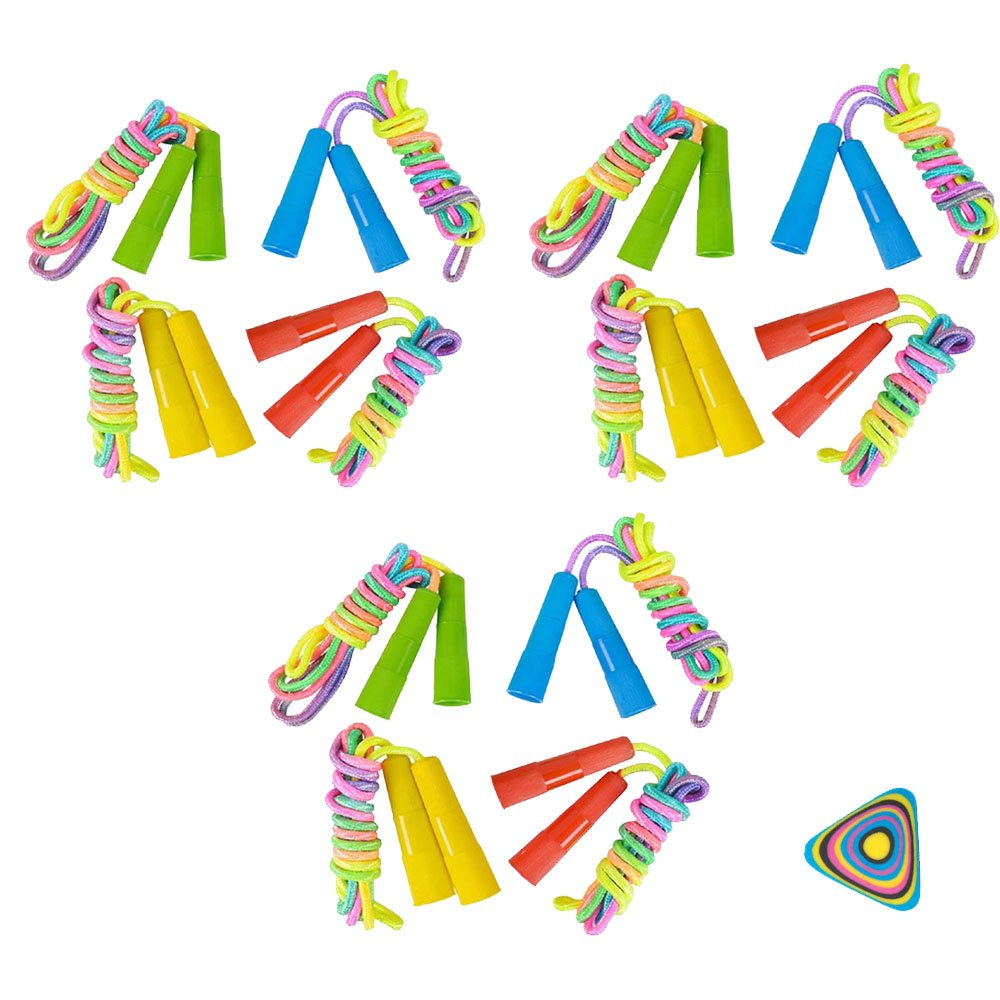 WGS 12 Rainbow Neon Jump Rope and 1 Vortex Eraser- Party Favors, Prizes, Outdoor Activities, Easter Baskets