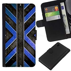KingStore / Leather Etui en cuir / Sony Xperia Z1 L39 / Patrón Negro Cruz Azul