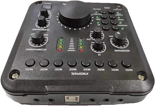 Interfaz De Audio USB Mini, Pro Caja De Audio Mezclador De Sonido De La Placa De Audio Adaptador De Múltiples Efectos De Sonido para Transmisión En Vivo Grabación Cantar De Karaoke: Amazon.es: