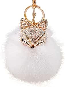 PULABO Fox - Llavero de peluche con incrustaciones de diamantes de imitación para llavero de coche con colgante de felpa, para Navidad, 8 cm, color blanco, cómodo y ambientalmenteNobu