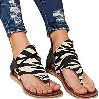 KIACIYA Sandalias Planas Mujer Casual Leopardo Sandalias Zapatos de Verano Sandalias Mujeres Peep Toe Encaje up ImpresiA  n Clip Toe Sandalias Planas Playa  banma 35 EU  Precio estimado : EUR 12,99
