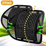 Lumbar Support, Back Support with Wooden Beads Provide Massage Feature, Breathable Back Support Cushion for Car Home and Office Chair (Black 2 Pack).