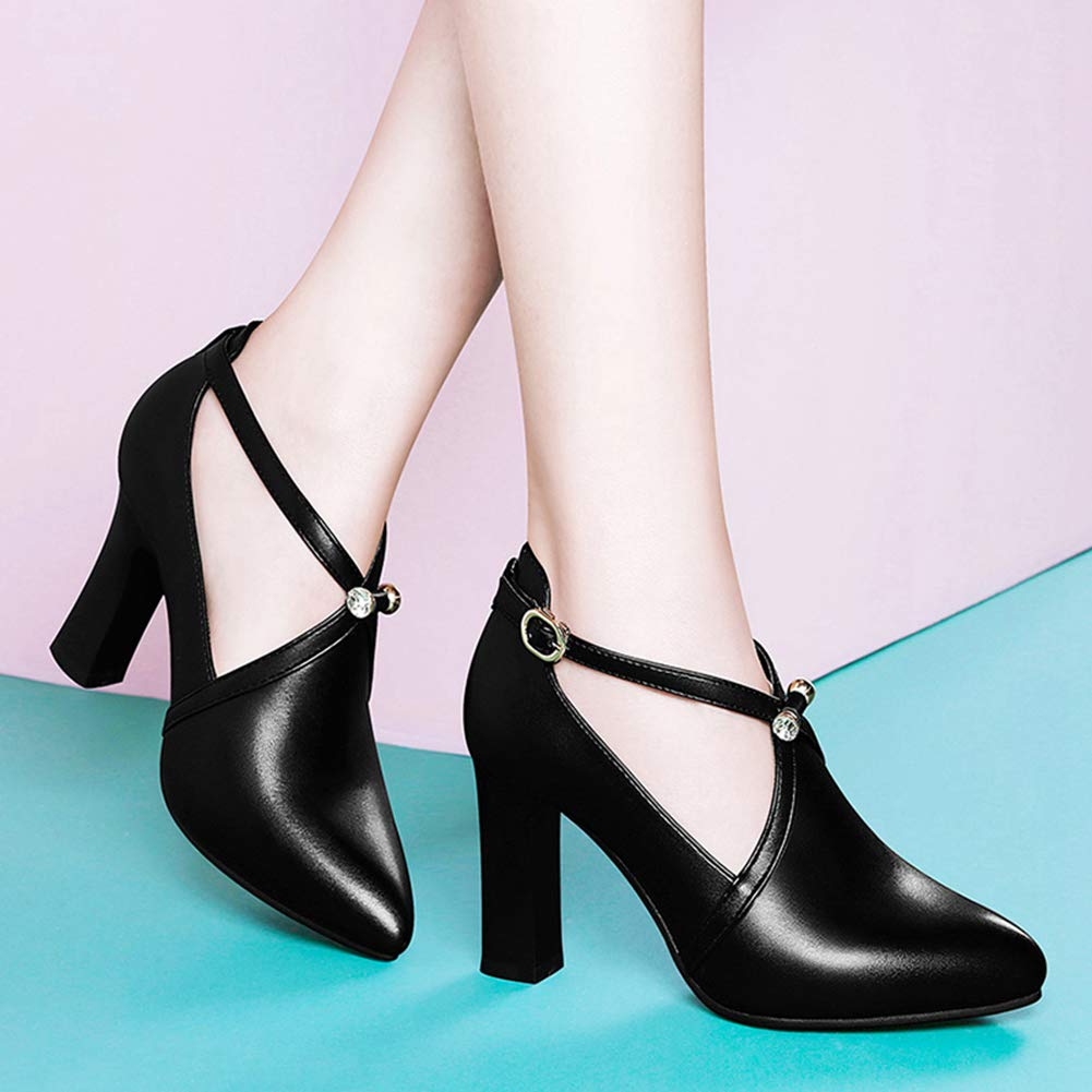 Women's Closed Pointed Fashion Toe Wrapped Pumps Fashion Pointed Ankle Strap Buckle Dress Shoes Chunky High Heels B07GZPXNHW 7 M US|Black aef998