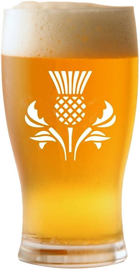 1 pinta tulipán Vaso de cerveza con diseño de cardo escocés: Amazon.es: Hogar