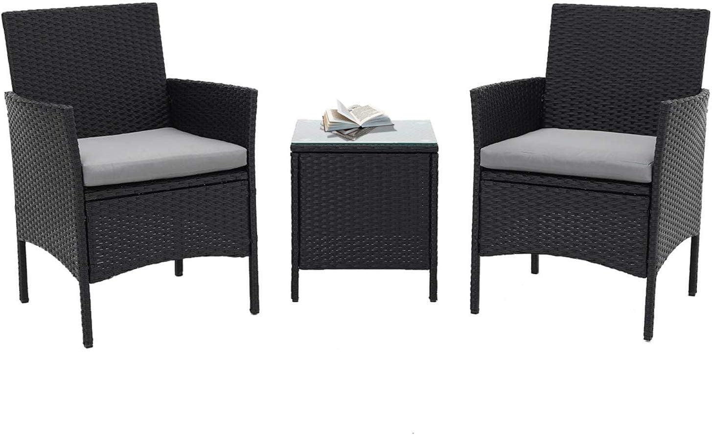 Incbruce Patio Bistro Set 3-Piece Outdoor Wicker Furniture Sets Black Modern Rattan Garden Conversation Chair Table Set Furniture, Black Glass Coffee Table, Light Gray Cushion