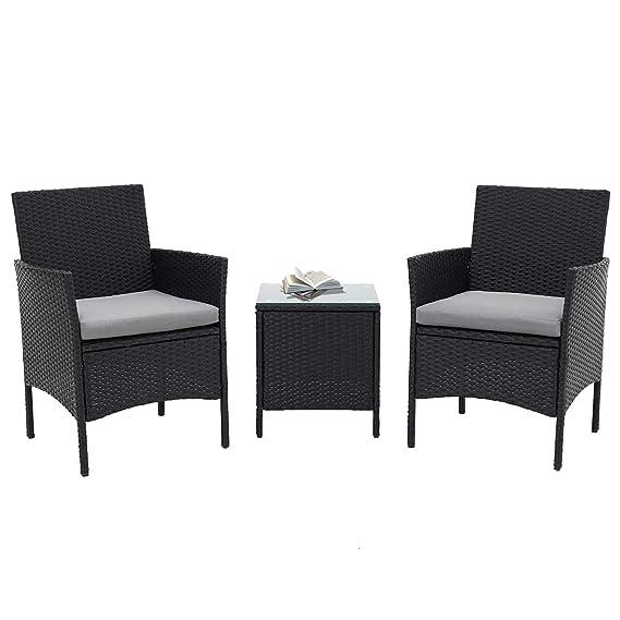 Incbruce Patio Bistro Set 3-Piece Outdoor Wicker Furniture Sets | Black Modern Rattan Garden Conversation Chair & Table Set Furniture, Black Glass ...