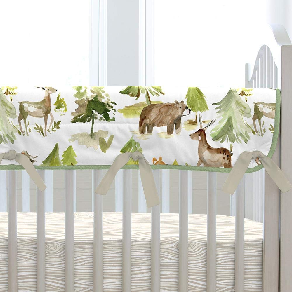 Carousel Designs Green and Taupe Forest Crib Rail Cover by Carousel Designs