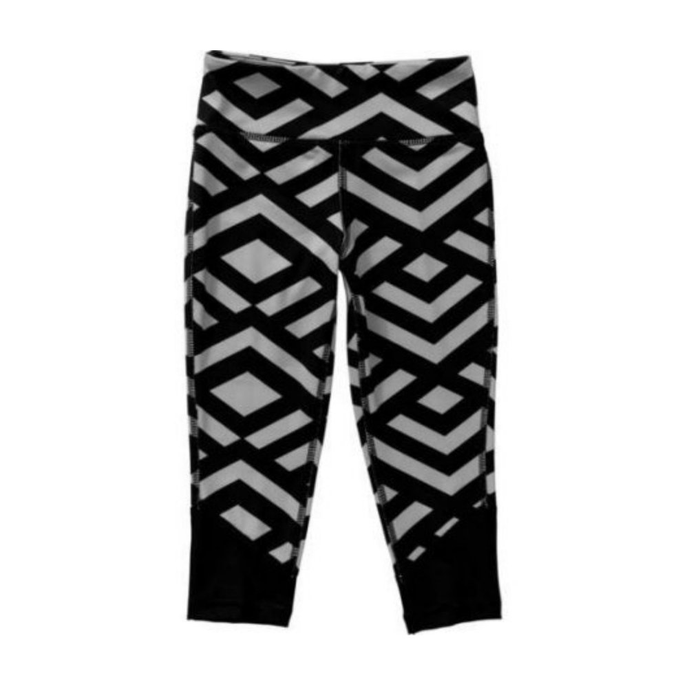 Black Geo Danskin Now Girls Active Legging Capri Black Large