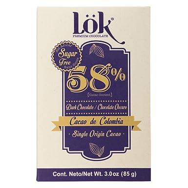 Lök Foods Single Origin Sin Azúcar Chocolate Oscuro 58% Cacao de Colombia,