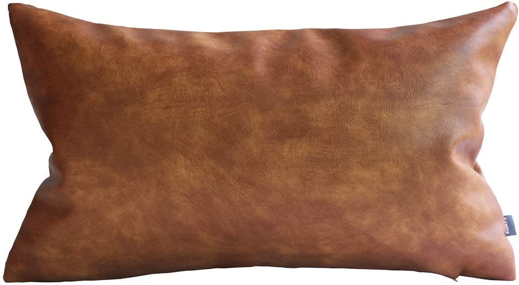 Kdays Thick Brown Faux Leather Lumbar Pillow Cover Cognac Leather Decorative Throw Pillow Case Farmhouse Rectangular Sofa Couch Cushion Covers Modern Minimalist Vegan Pillow Cover 12x20 Inches