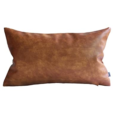 Kdays Thick Faux Leather Lumbar Pillow Cover Tan Decorative for Couch Throw Pillow Case Brown Leather Cushion Cover Solid Color Leather Pillow 12x20 Inches