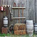 AOFOTO 6x6ft Old Farm Implements Backdrop Vintage Barn Tools Bales of Hay Photography Background Rustic Wooden Casks Rural Wood Wall Photo Studio Props Vinyl Wallpaper Cowboy Man Artistic Portrait