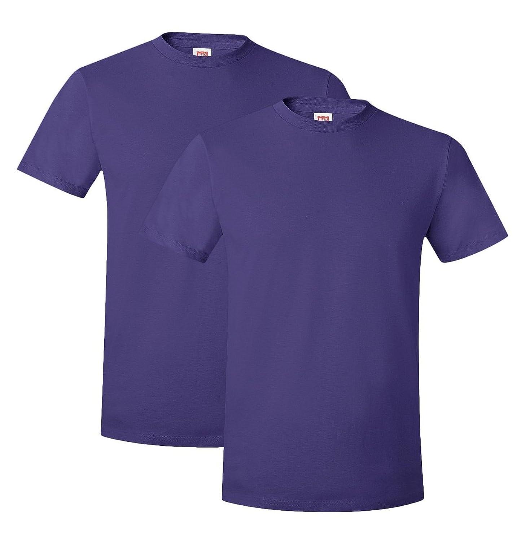 Hanes mens 4.5 oz. 100% Ringspun Cotton nano-T T-Shirt(4980)-Purple-S-2PK